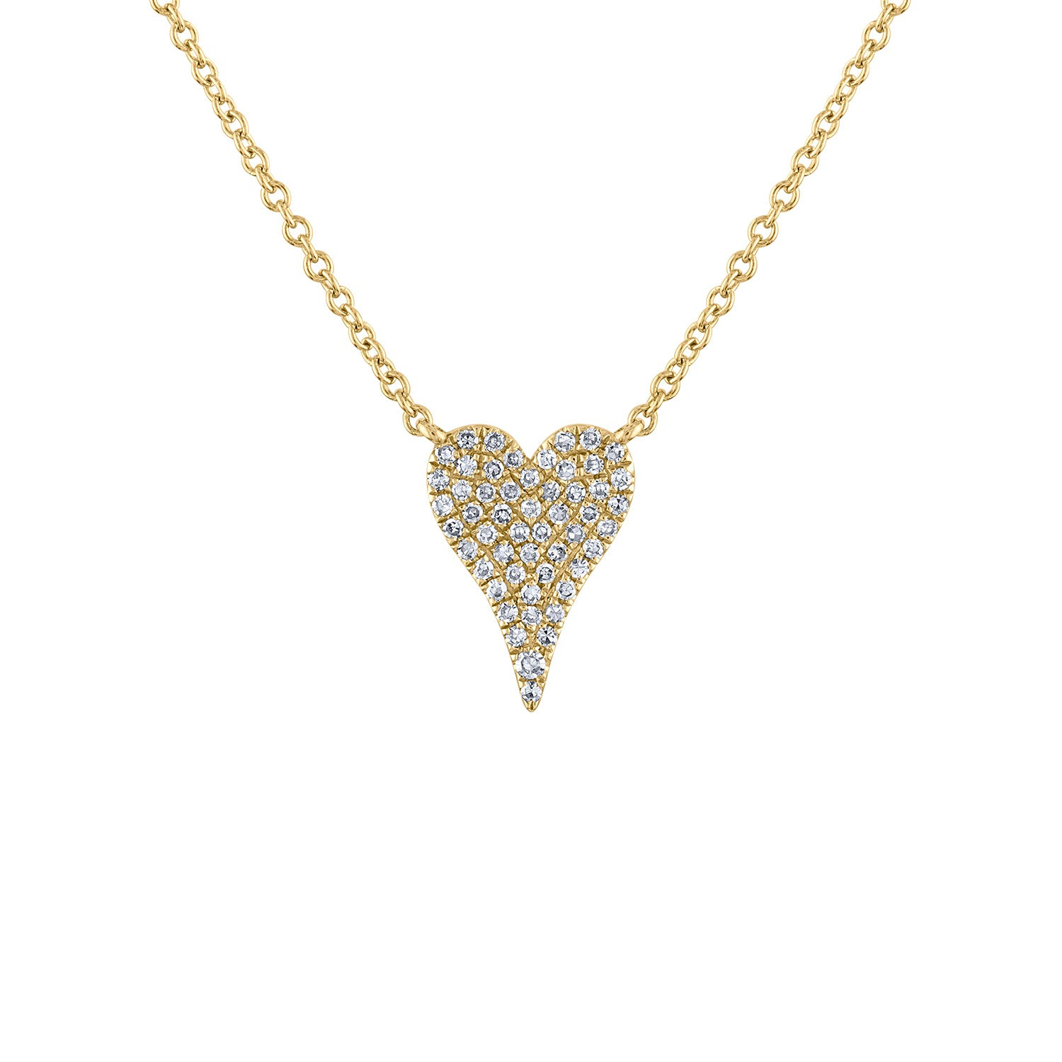 14k Yellow Gold small modern heart diamond necklace