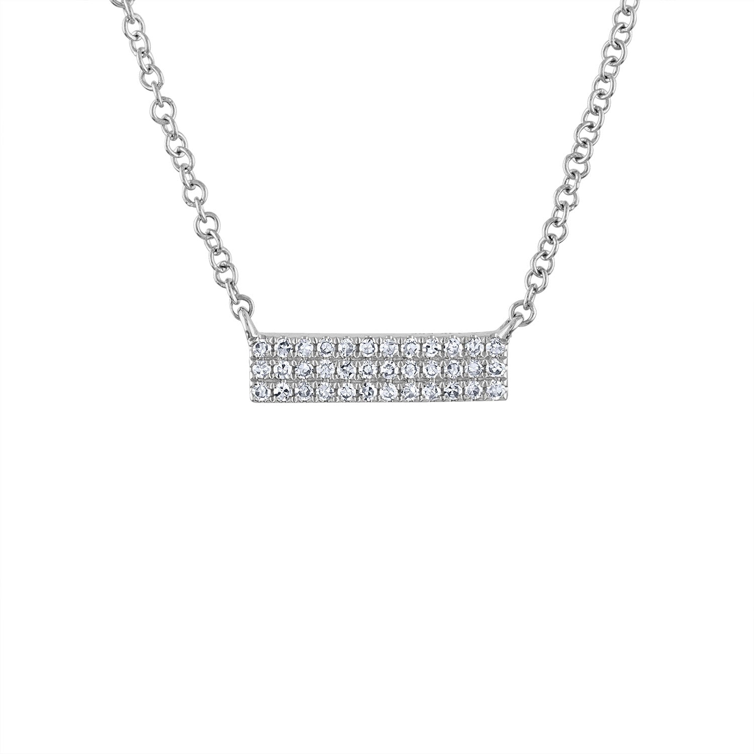 14k White Gold diamond mini 3 row bar necklace