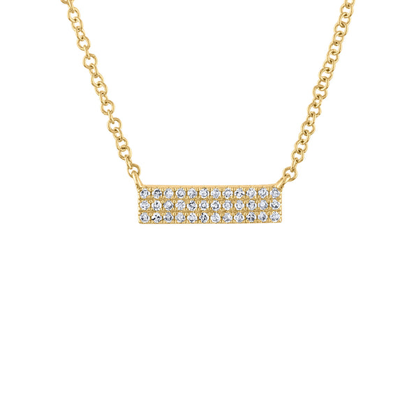 14k Yellow Gold diamond mini 3 row bar necklace