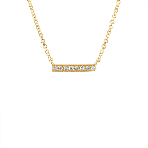 14KT GOLD MINI DIAMOND BAR NECKLACE