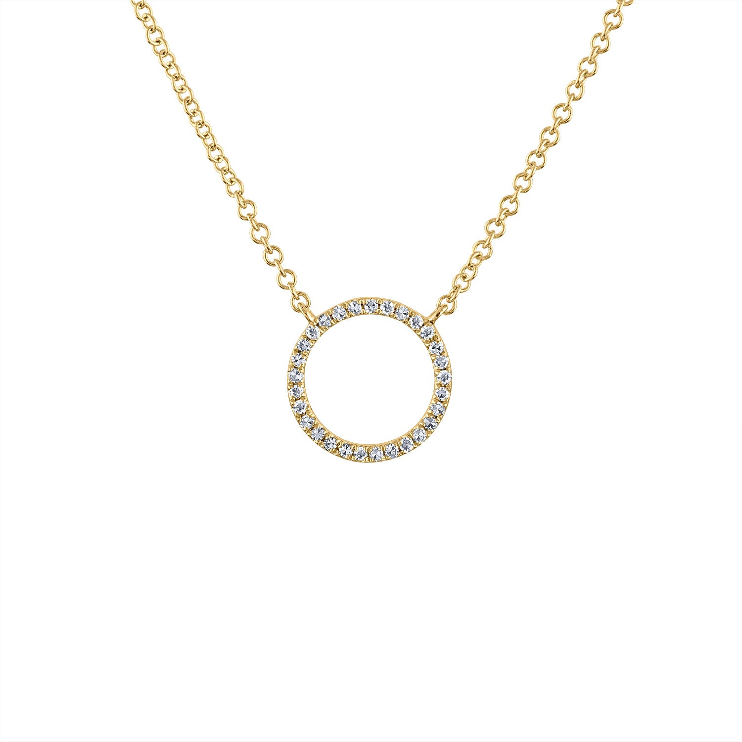 14KT GOLD STATIONERY SMALL DIAMOND OPEN CIRCLE NECKLACE