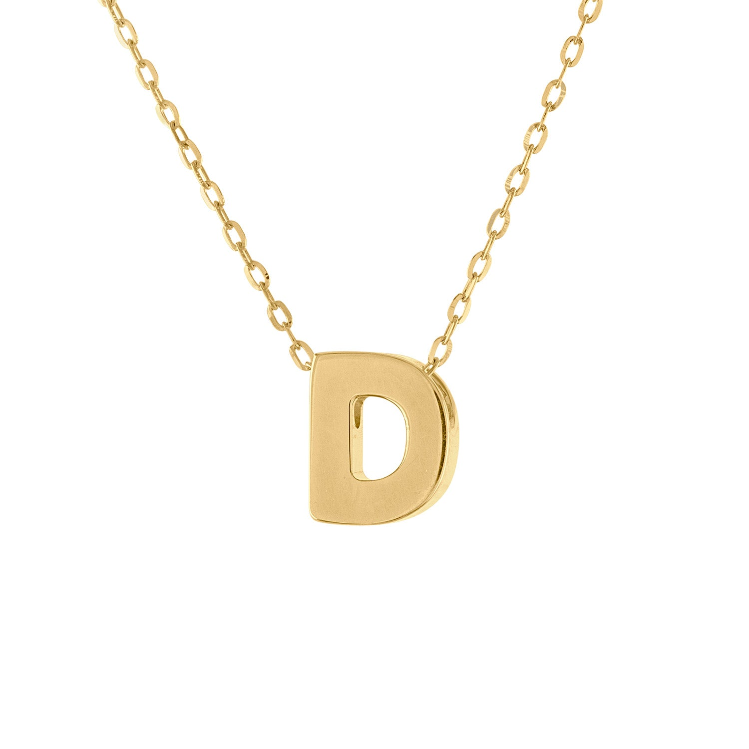 14k Yellow Gold plain initial D necklace