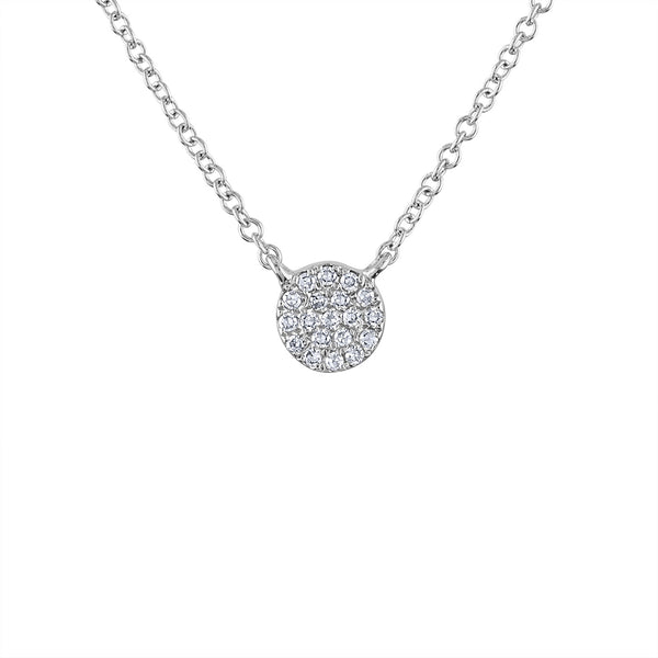 14k White Gold mini disk pave diamond necklace