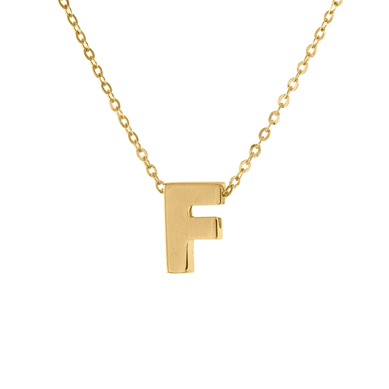 14k Yellow Gold plain initial F necklace