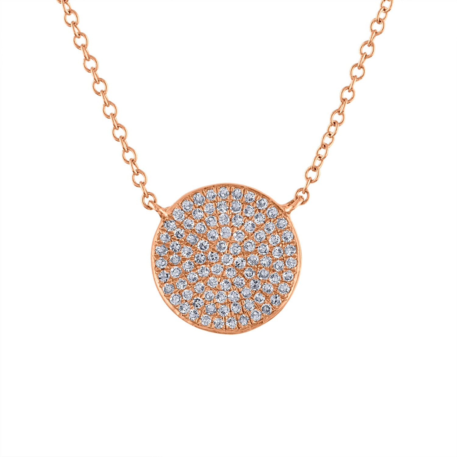 14k Rose Gold diamond medium disk pave necklace