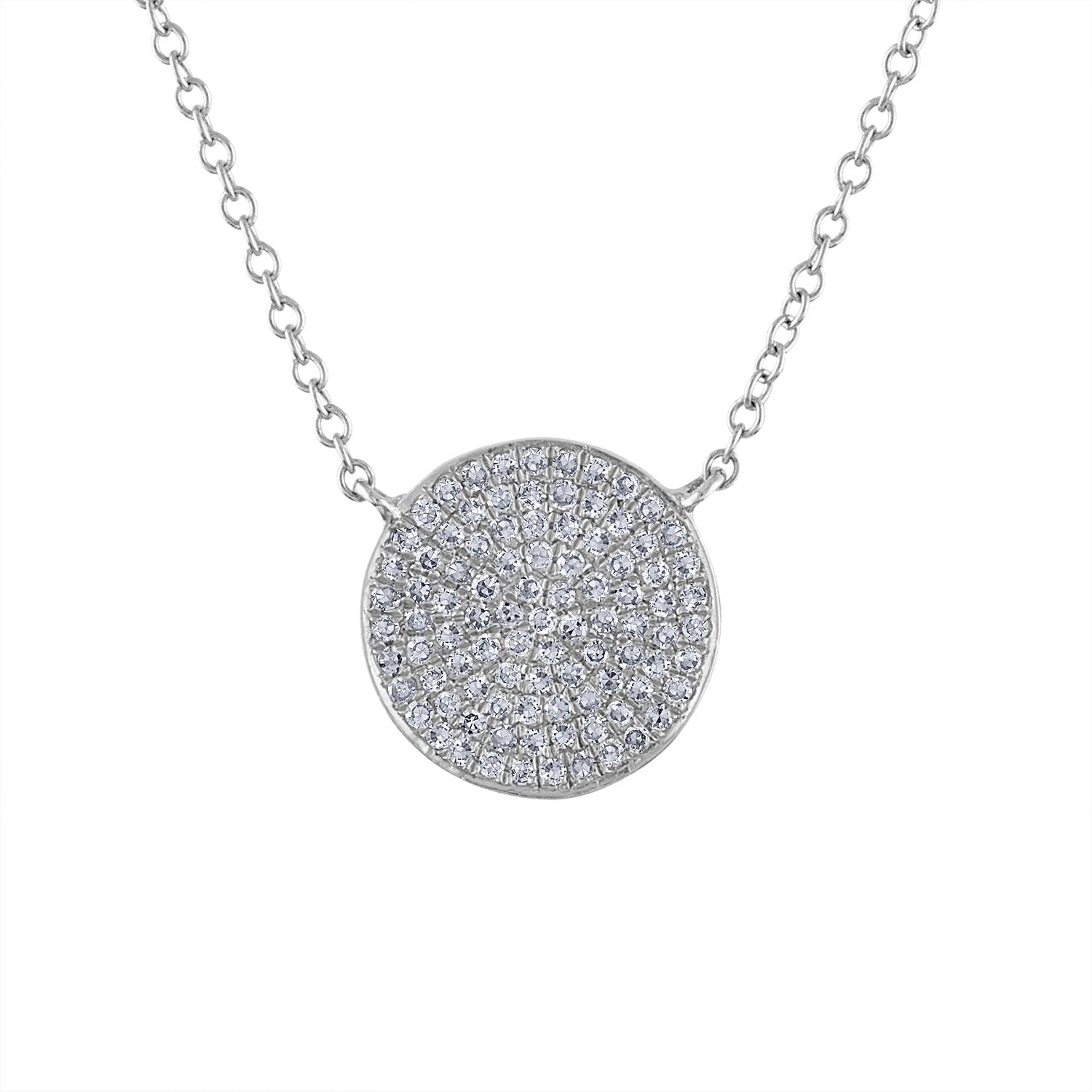 14k White Gold diamond medium disk pave necklace