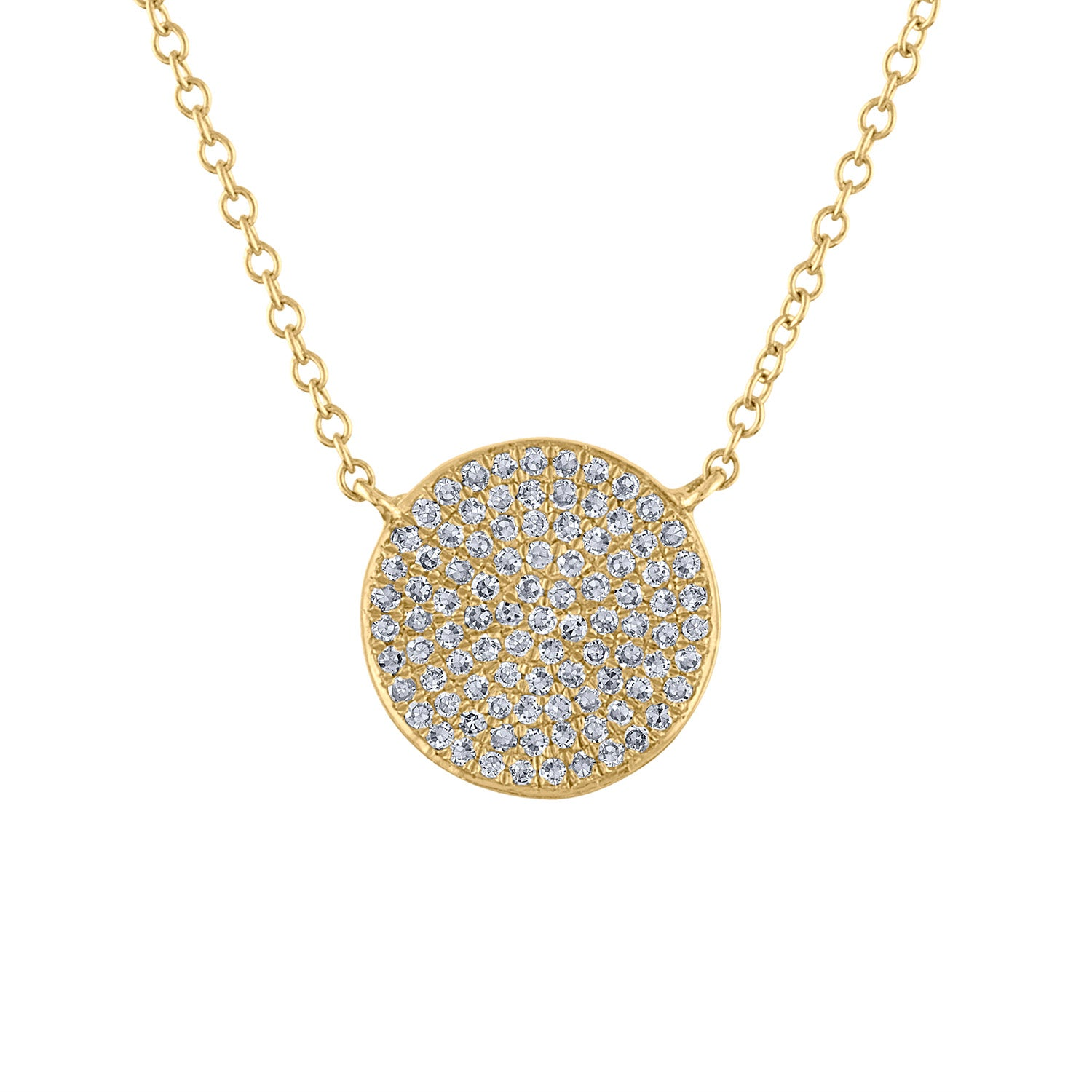 14k Yellow Gold diamond medium disk pave necklace