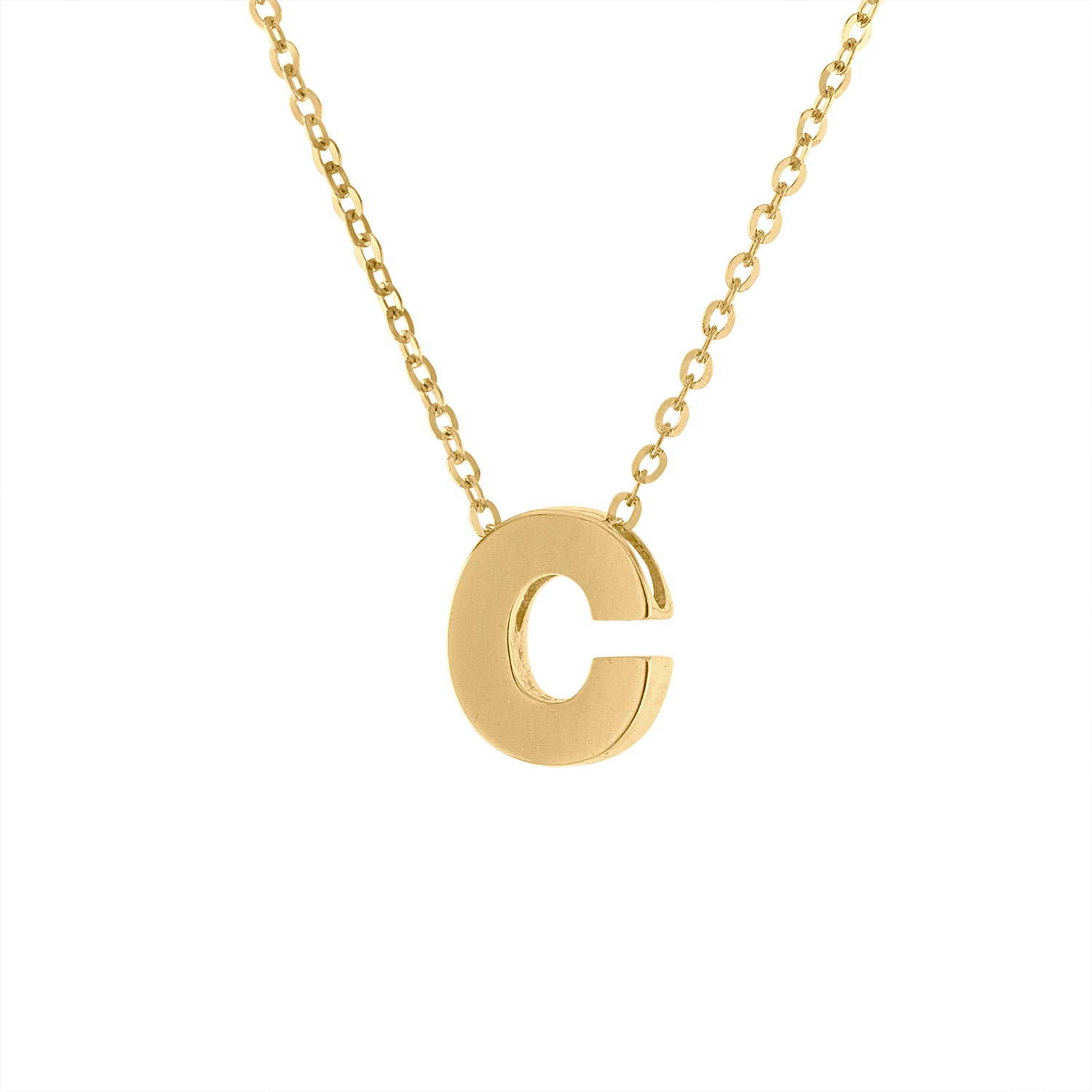 14k Yellow Gold plain initial C necklace