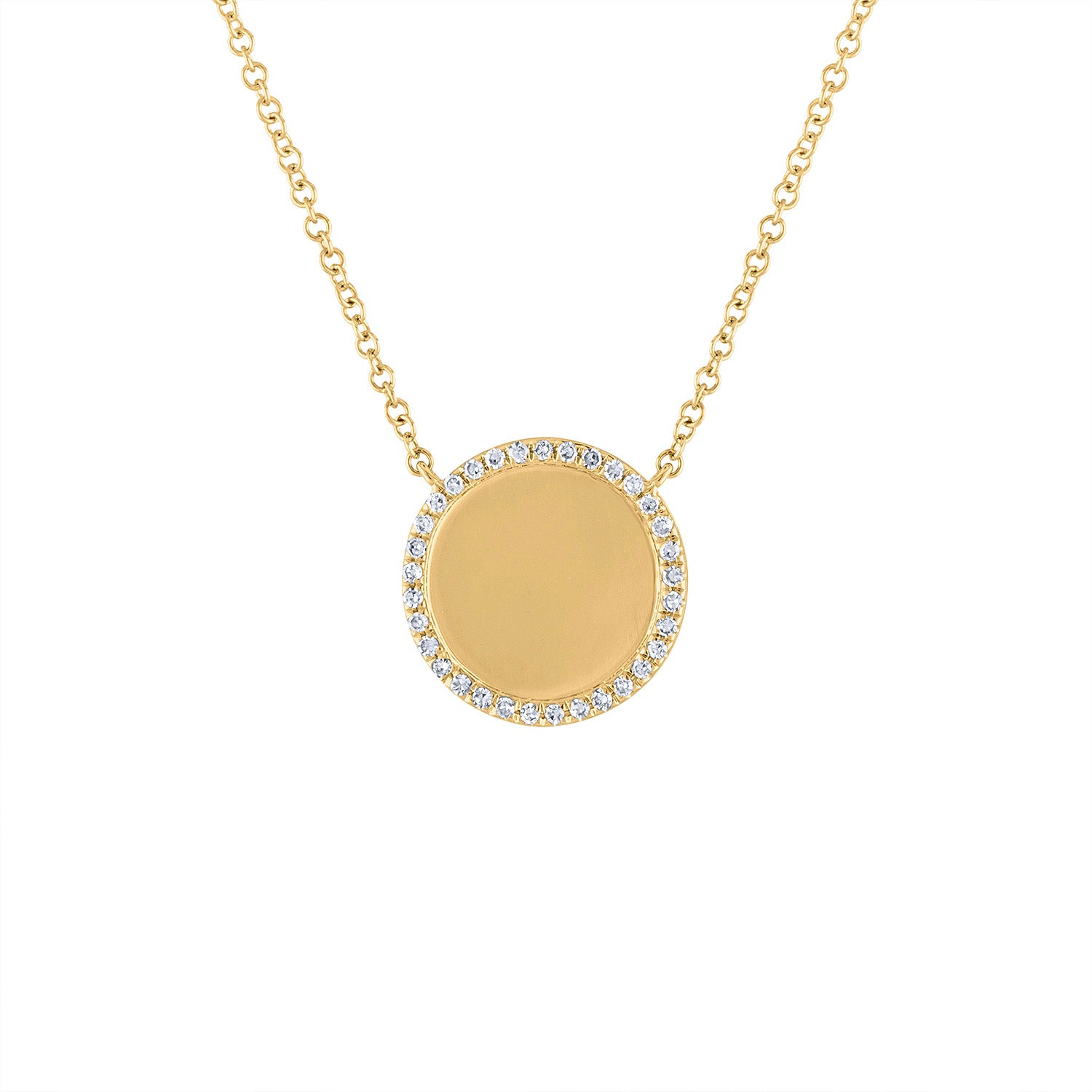 14KT GOLD DIAMOND OUTLINE DISK NECKLACE