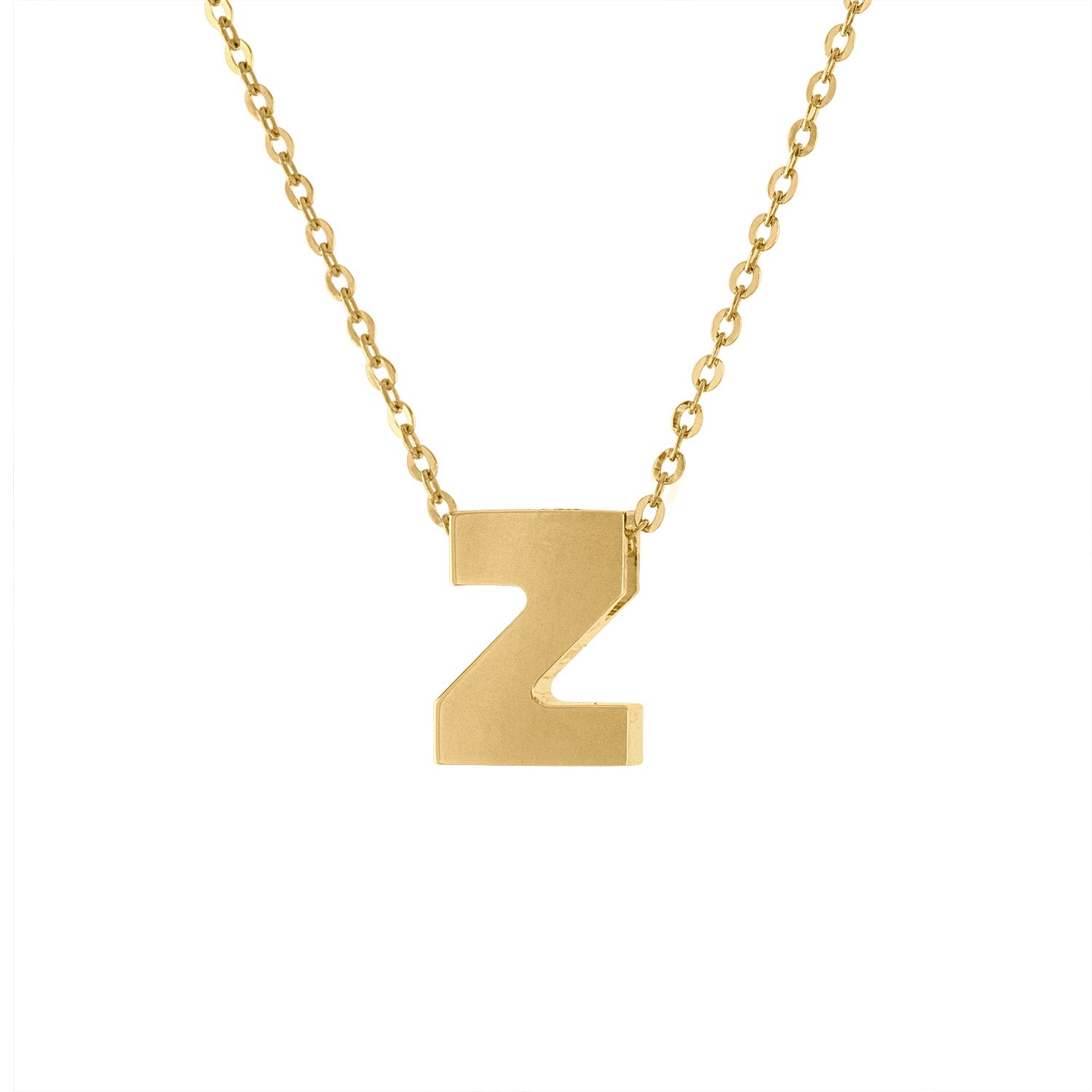 14k Yellow Gold plain initial Z necklace
