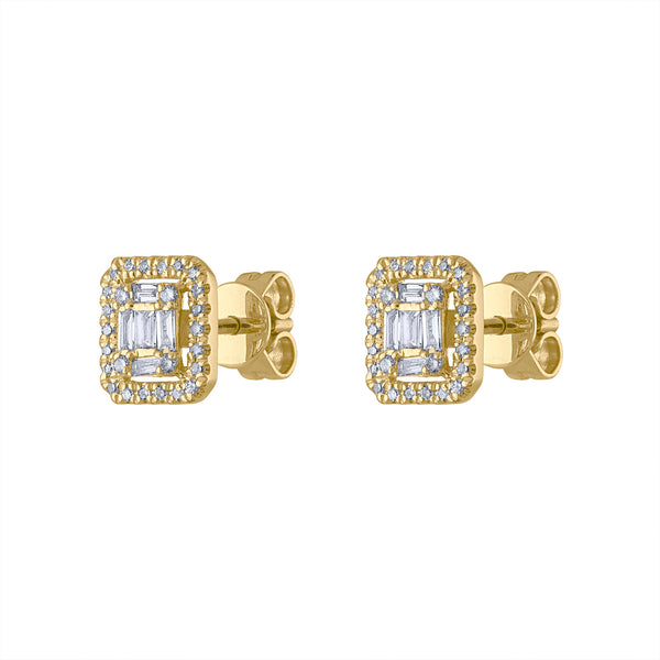 14KT GOLD DIAMOND BAGUETTE SQUARE EARRING