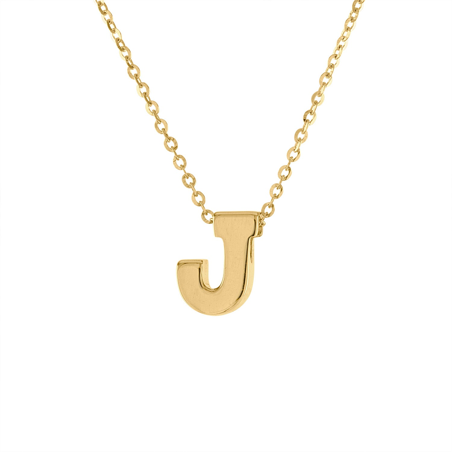 14k Yellow Gold plain initial J necklace