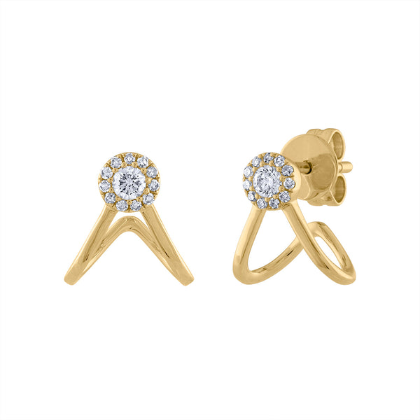 14KT GOLD DIAMOND TWO LINE CURVE HUGGIE EARRING