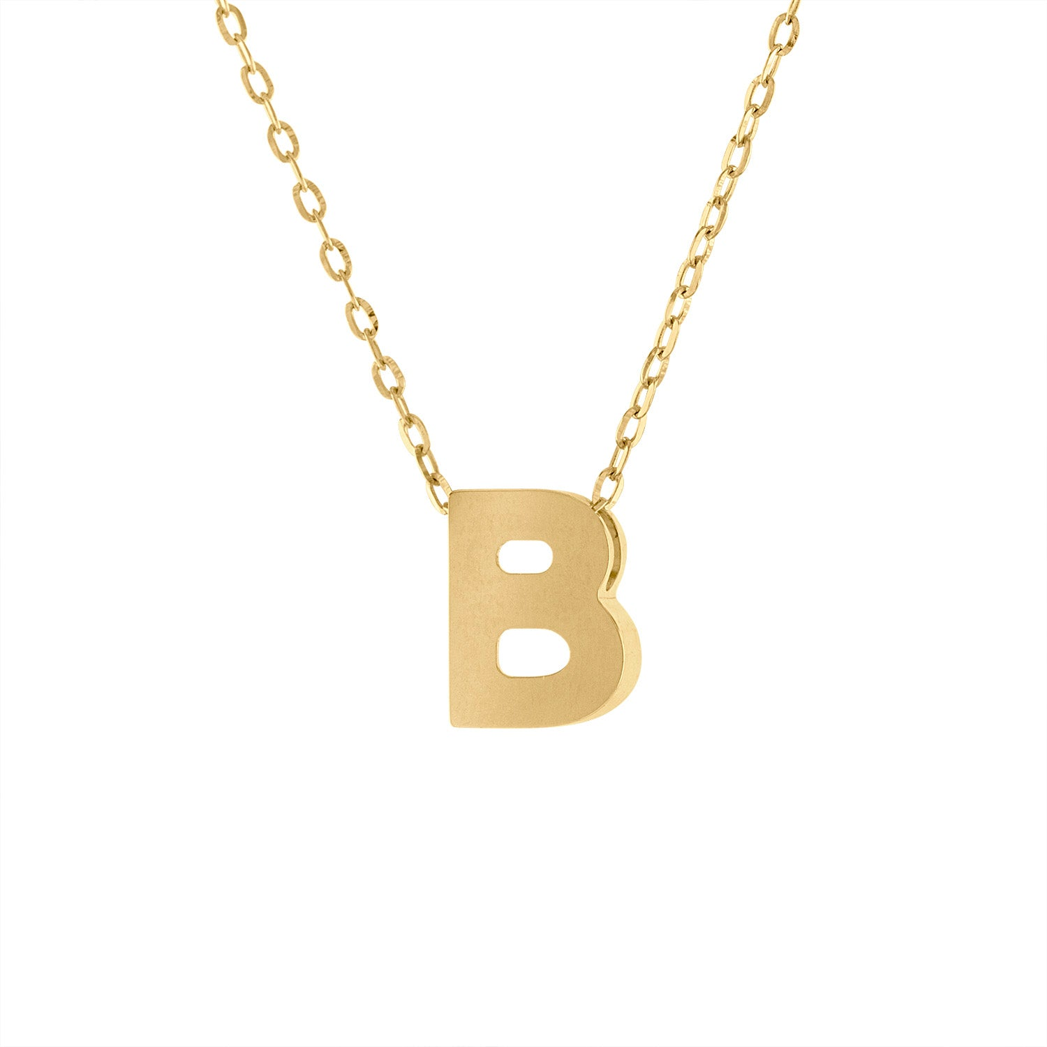 14k Yellow Gold plain initial B necklace