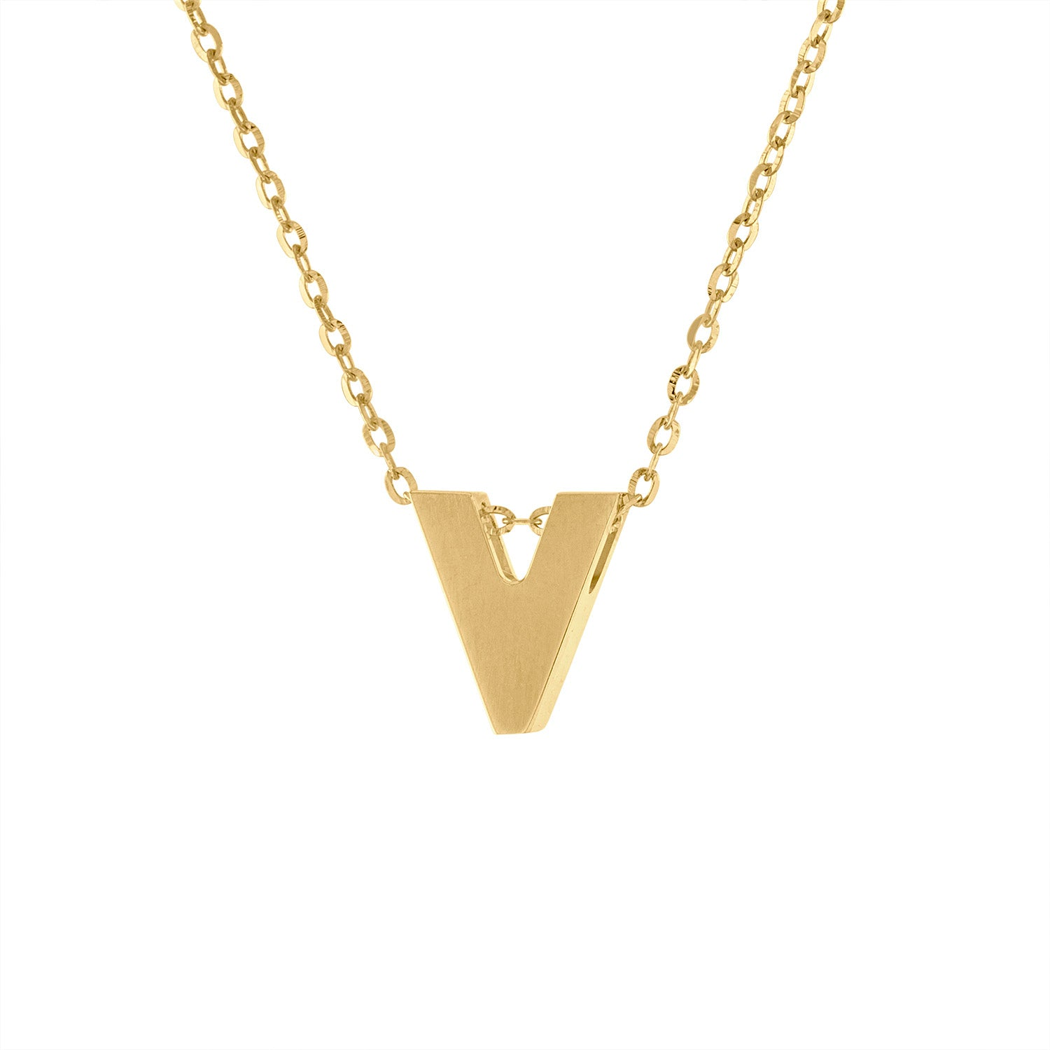14k Yellow Gold plain initial V necklace