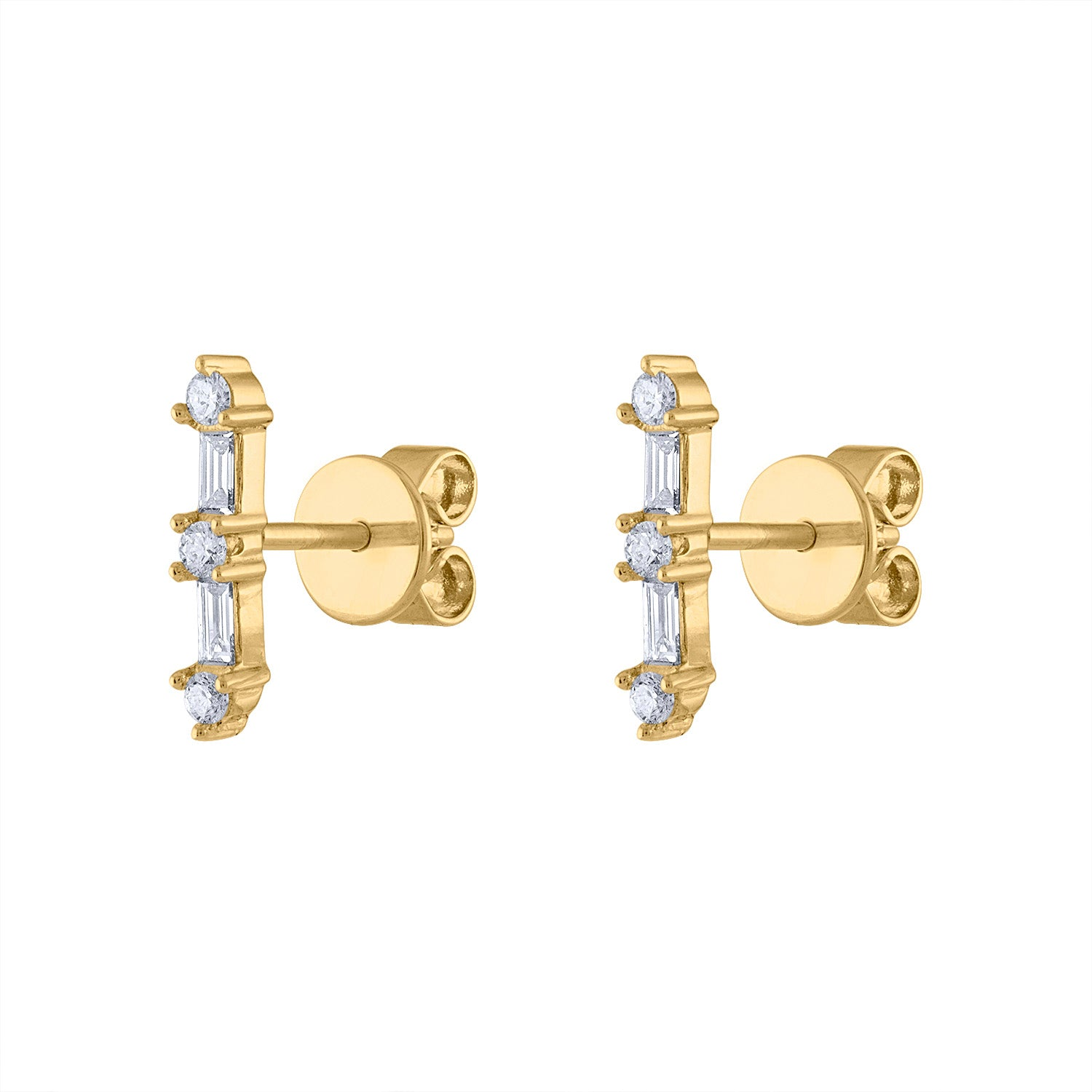14KT GOLD DIAMOND BAR EARRING