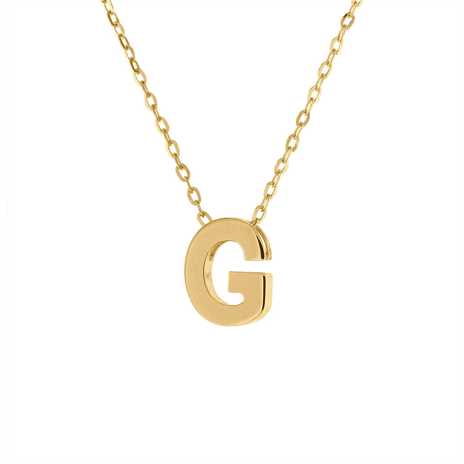 14k Yellow Gold plain initial G necklace