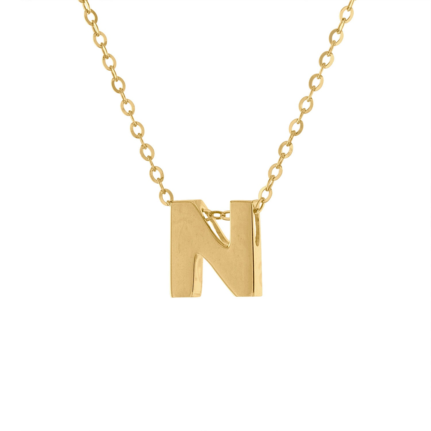 14k Yellow Gold plain initial N necklace