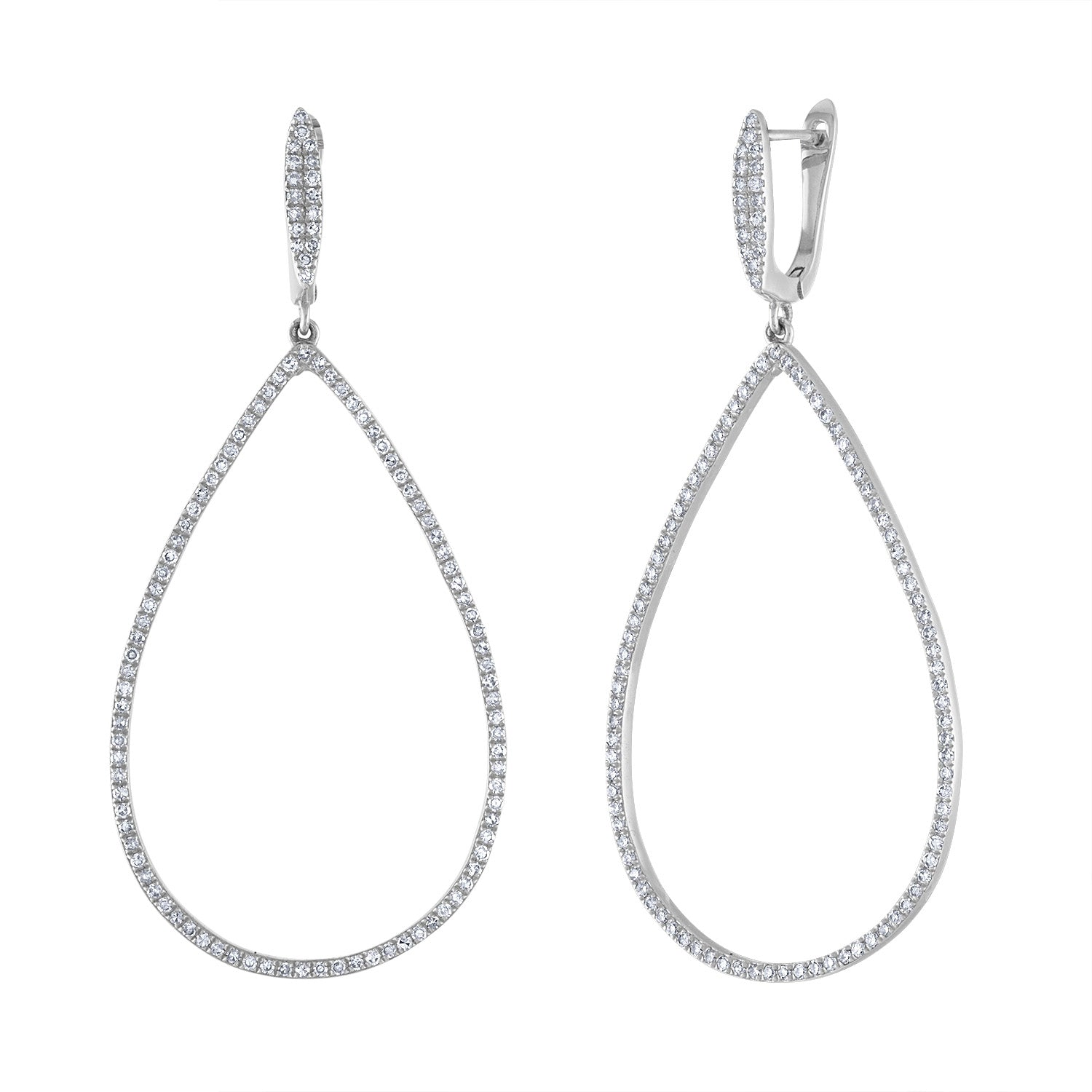 14k White Gold diamond open teardrop earring