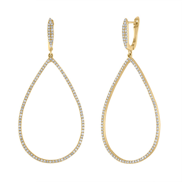 14k Yellow Gold diamond open teardrop earring