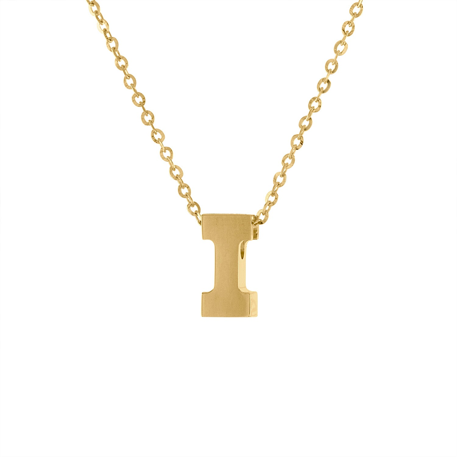 14k Yellow Gold plain initial I necklace
