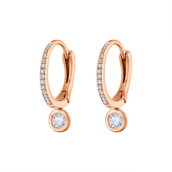 14KT GOLD SMALL BEZEL SET DIAMOND HUGGIE EARRING