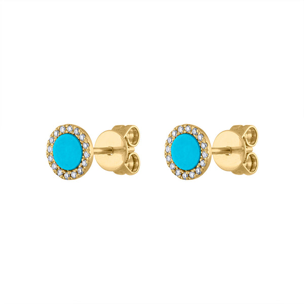 14KT GOLD DIAMOND TURQUOISE DISK STUD EARRING