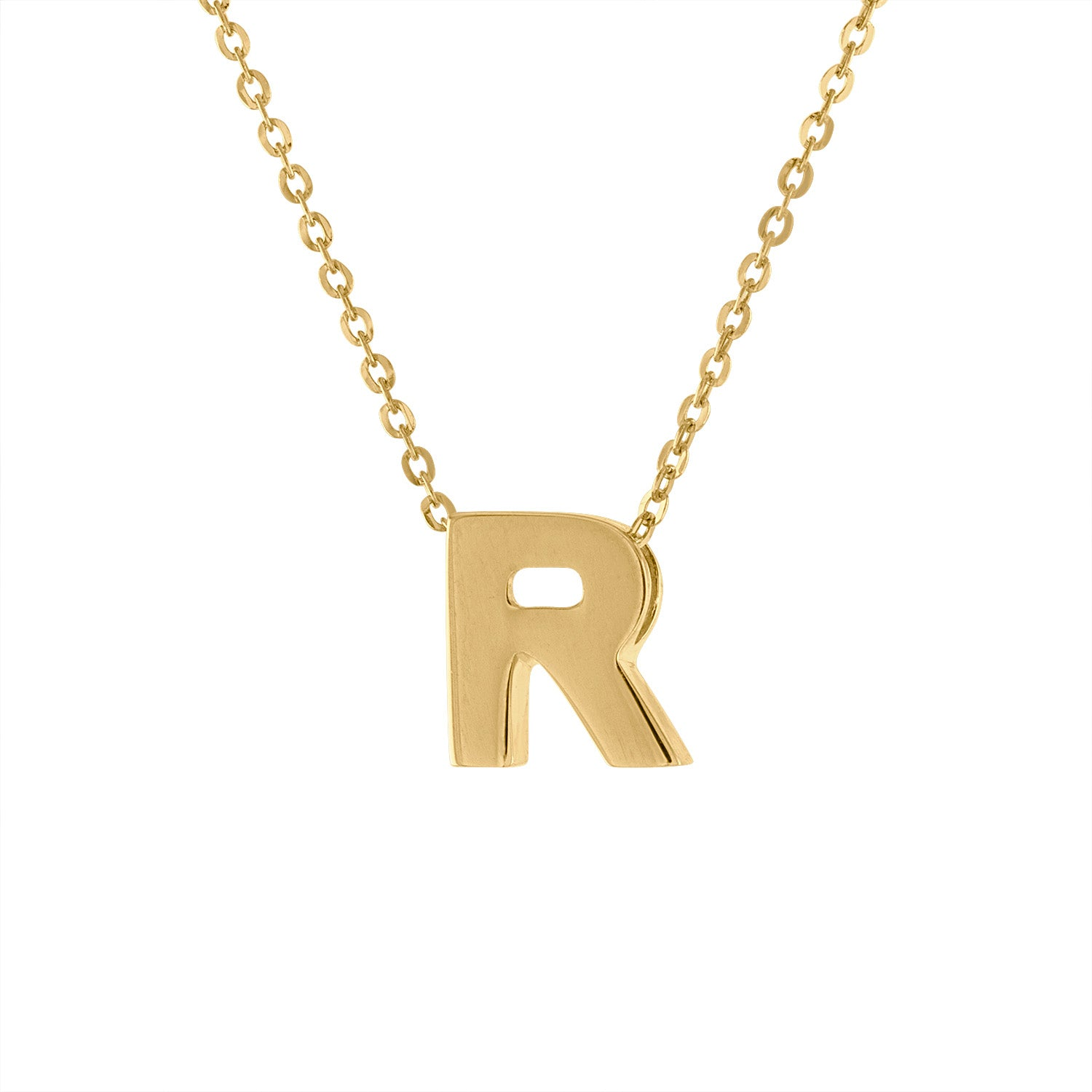 14k Yellow Gold plain initial R necklace