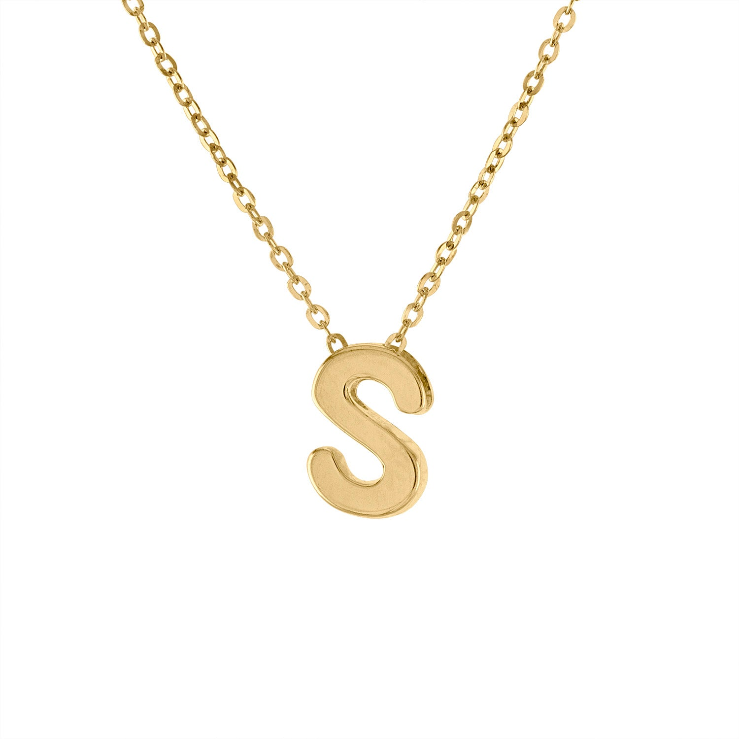 14k Yellow Gold plain initial S necklace