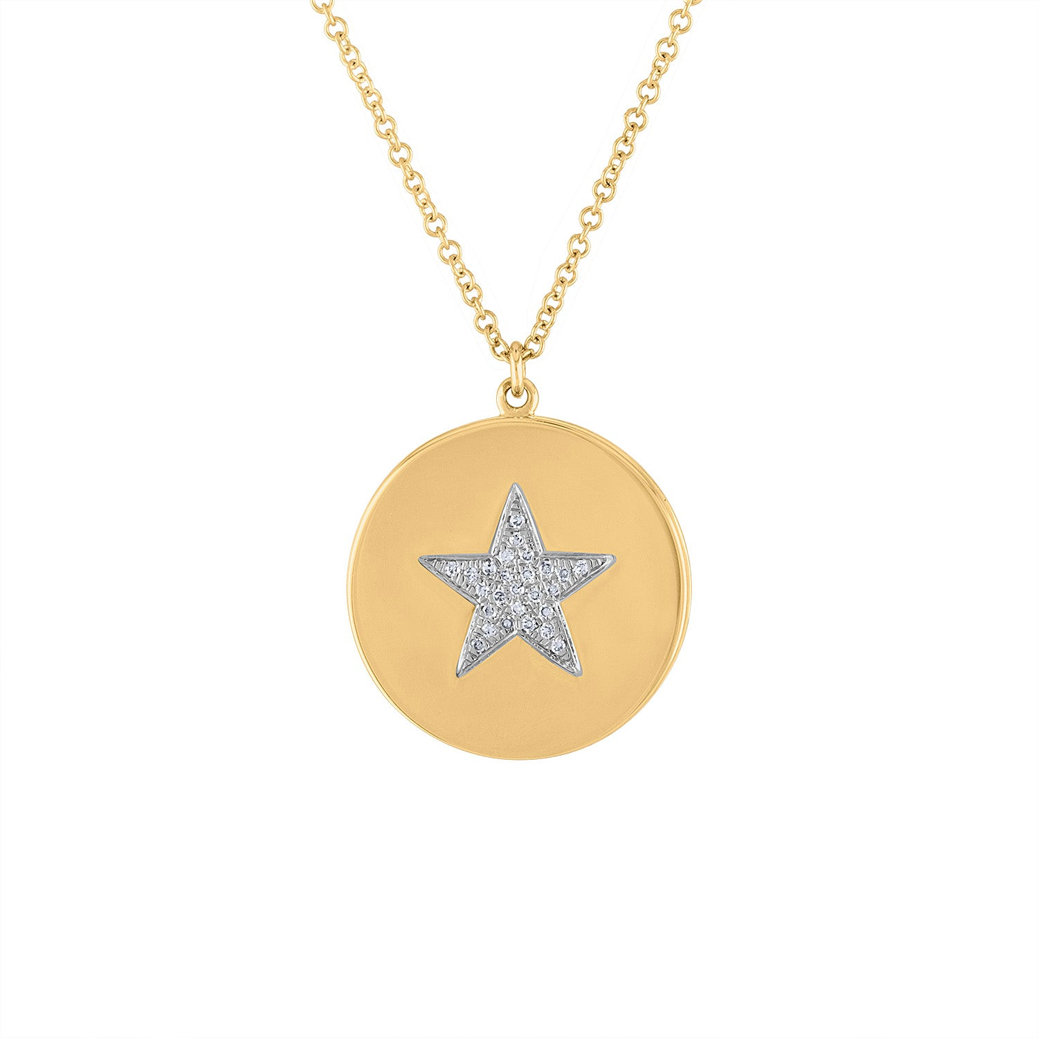 14KT GOLD DIAMOND STAR DISK LOCKET NECKLACE