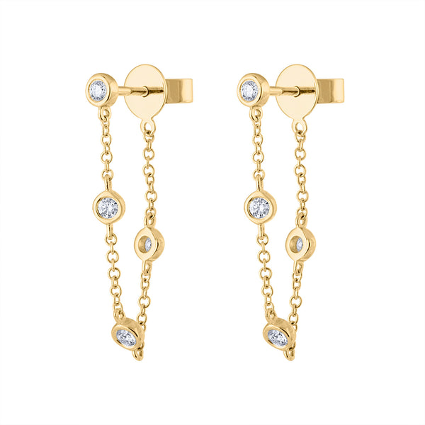 14KT GOLD DIAMOND BEZEL CHAIN FRONT/BACK EARRING