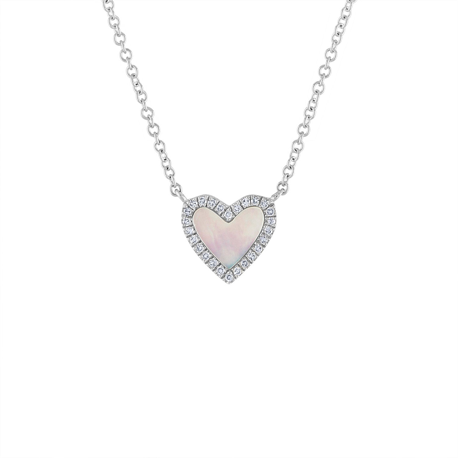 14KT GOLD DIAMOND OUTLINE MOTHER OF PEARL HEART NECKLACE