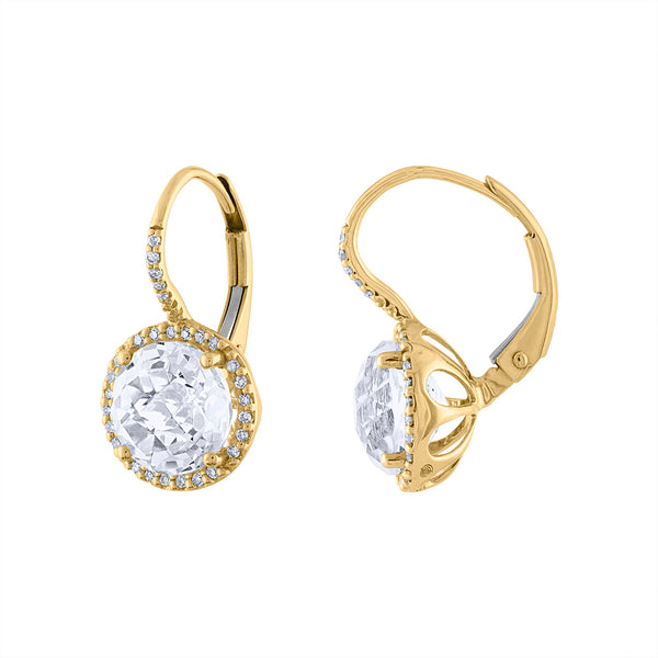 14KT GOLD DIAMOND AND WHITE QUARTZ CIRCLE DROP EARRING