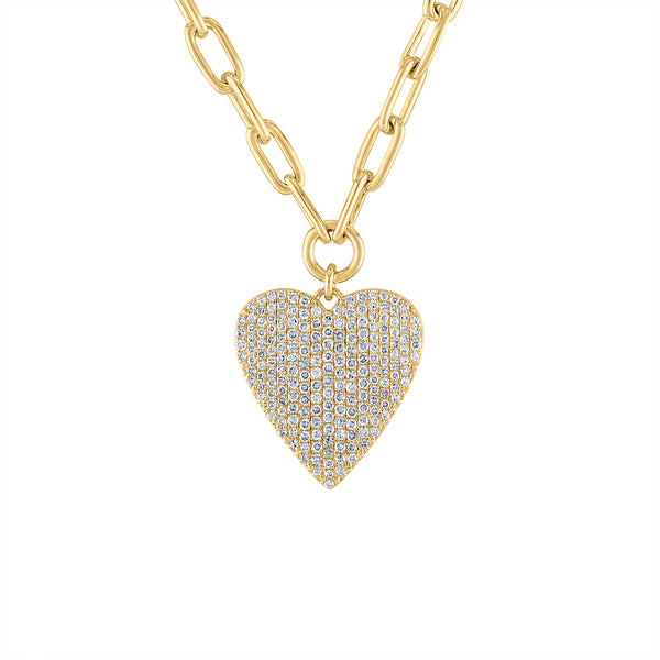 14KT GOLD PAVE DIAMOND HEART LINK CHAIN NECKLACE