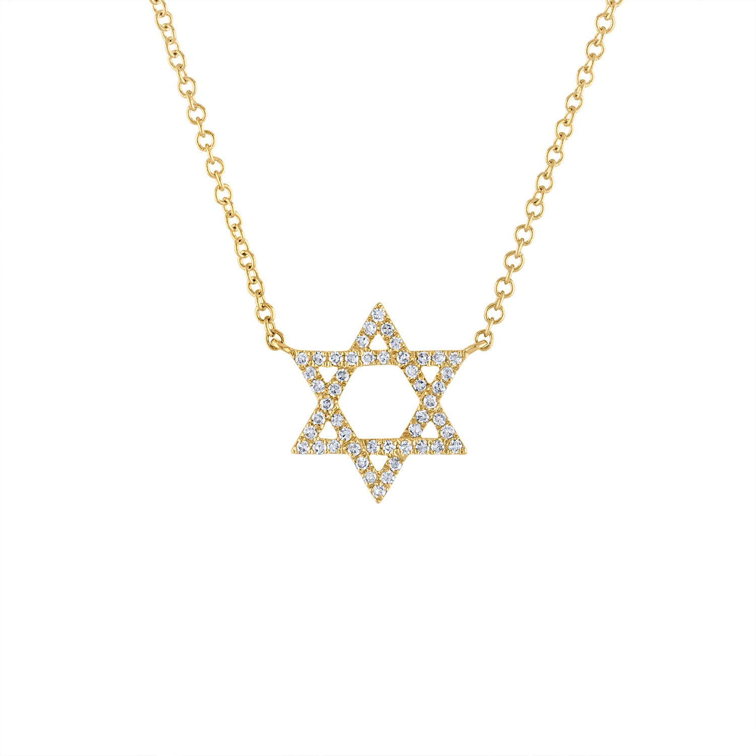 14KT GOLD DIAMOND OUTLINE STAR OF DAVID NECKLACE