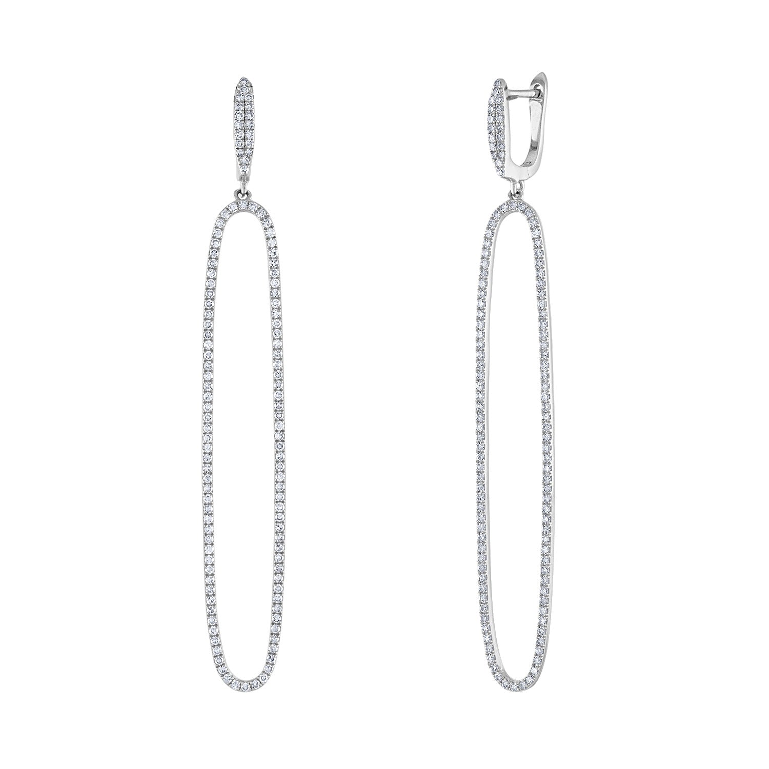 14k White Gold diamond long open oval earring