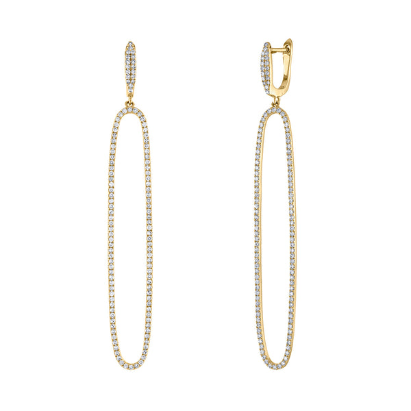 14k Yellow Gold diamond long open oval earring