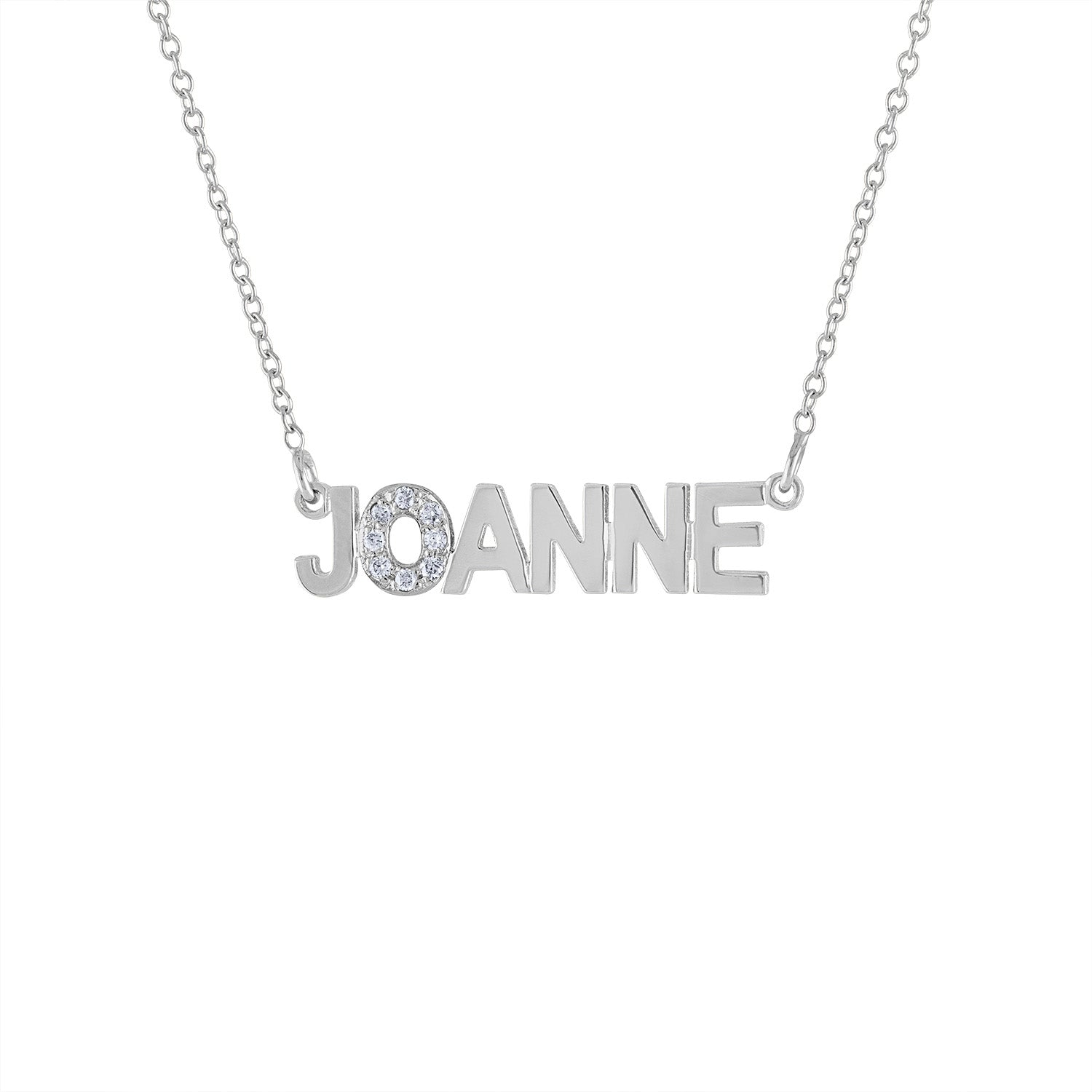 14KT GOLD DIAMOND BLOCK NAME NECKLACE