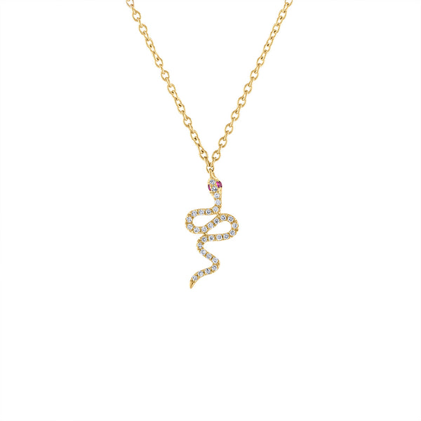 14KT GOLD DIAMOND SNAKE PENDANT NECKLACE