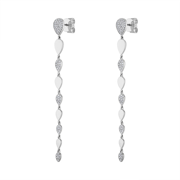 14KT GOLD DIAMOND LONG TEARDROPS EARRING