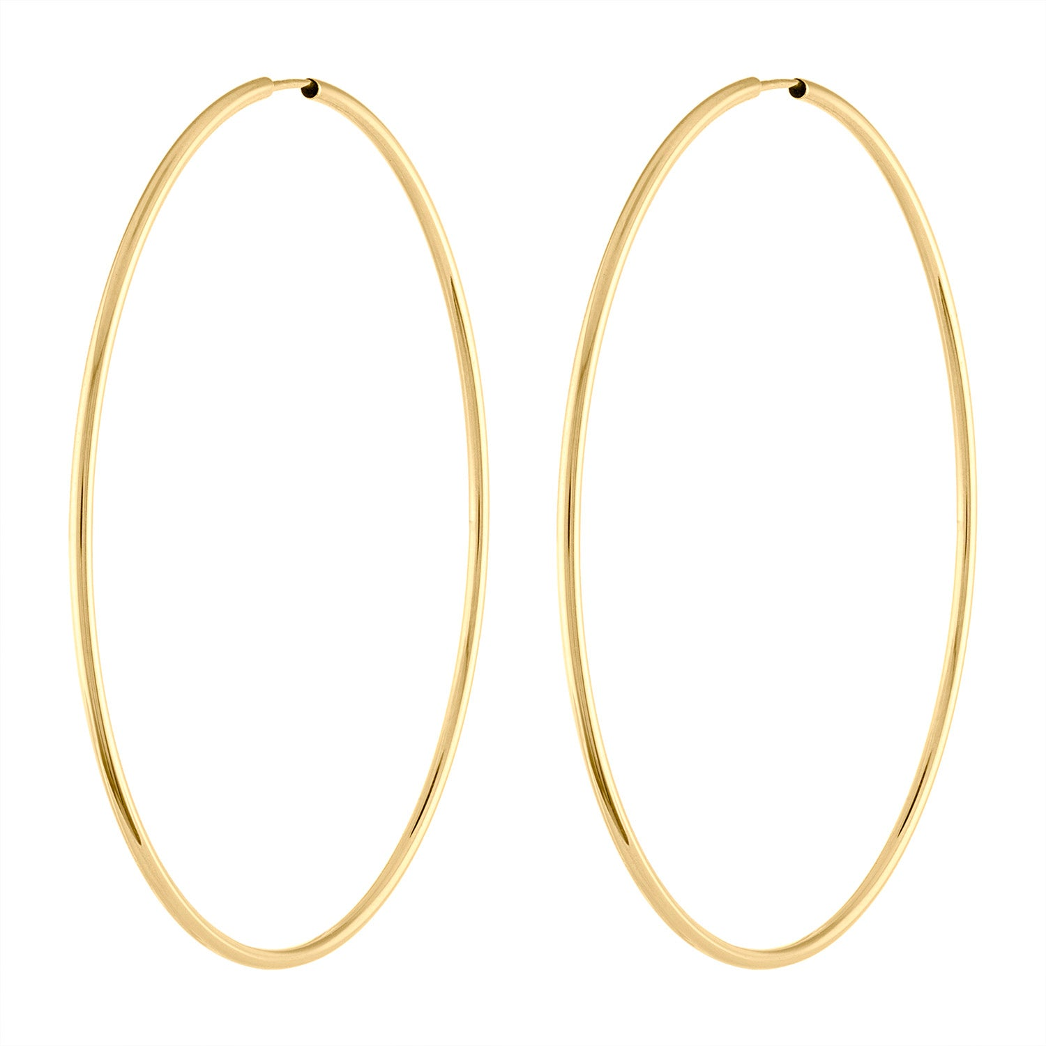 14K Yellow Gold thin large hoop earring