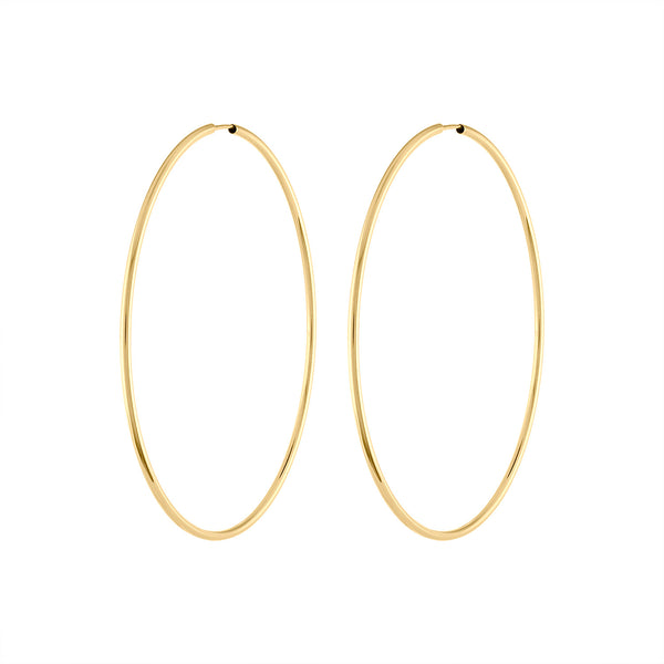 14KT GOLD THIN ENDLESS 40MM HOOP EARRING