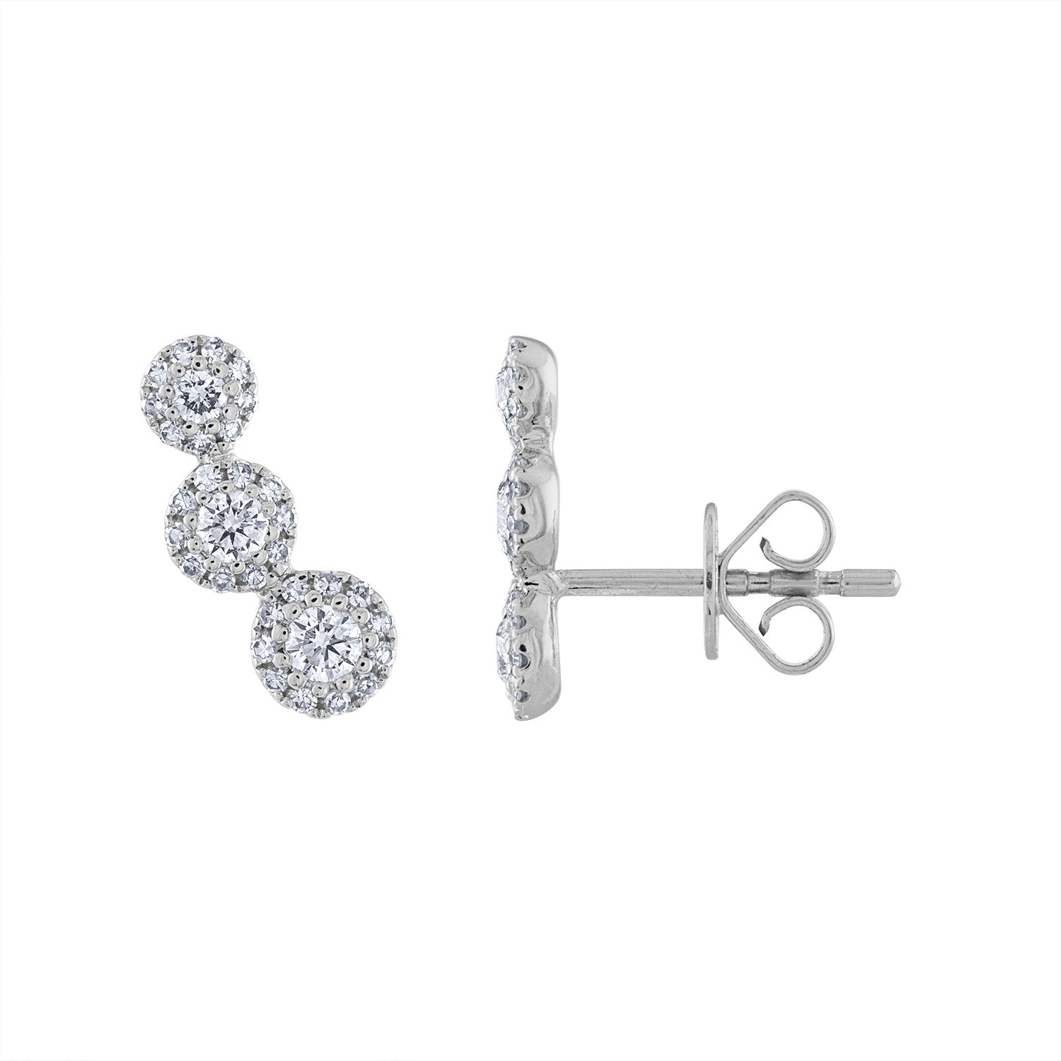 14KT GOLD THREE MARTINI SET DIAMOND CLIMBER EARRING