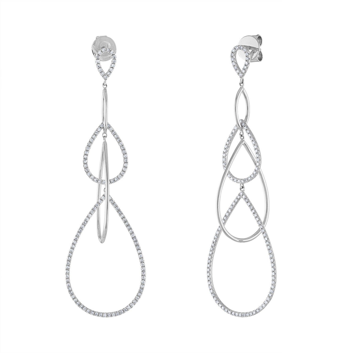 14k White Gold diamond pave and plain teardrop earring