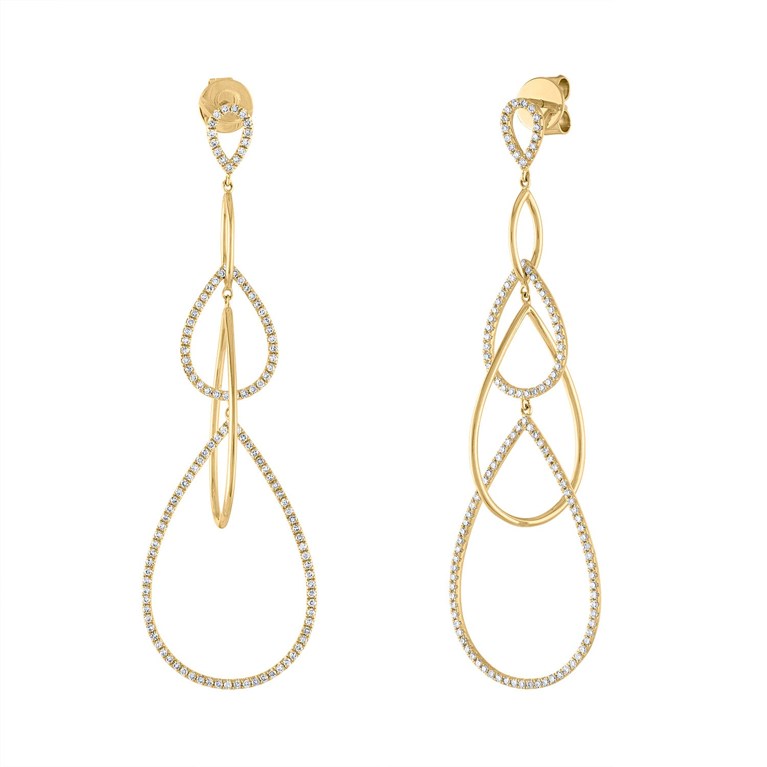 14k Yellow Gold diamond pave and plain teardrop earring