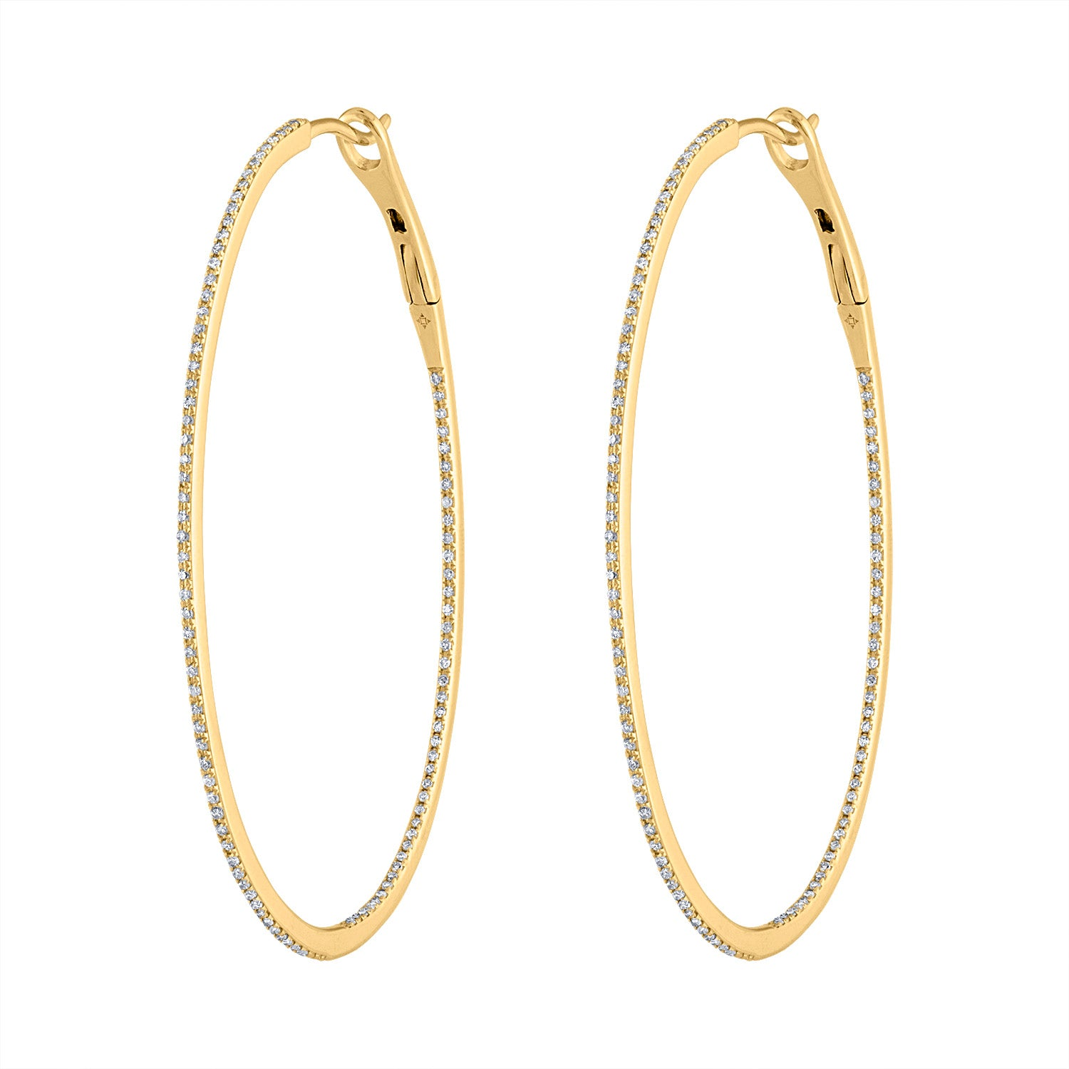 14KT GOLD LARGE DIAMOND OVAL HOOP EARRING