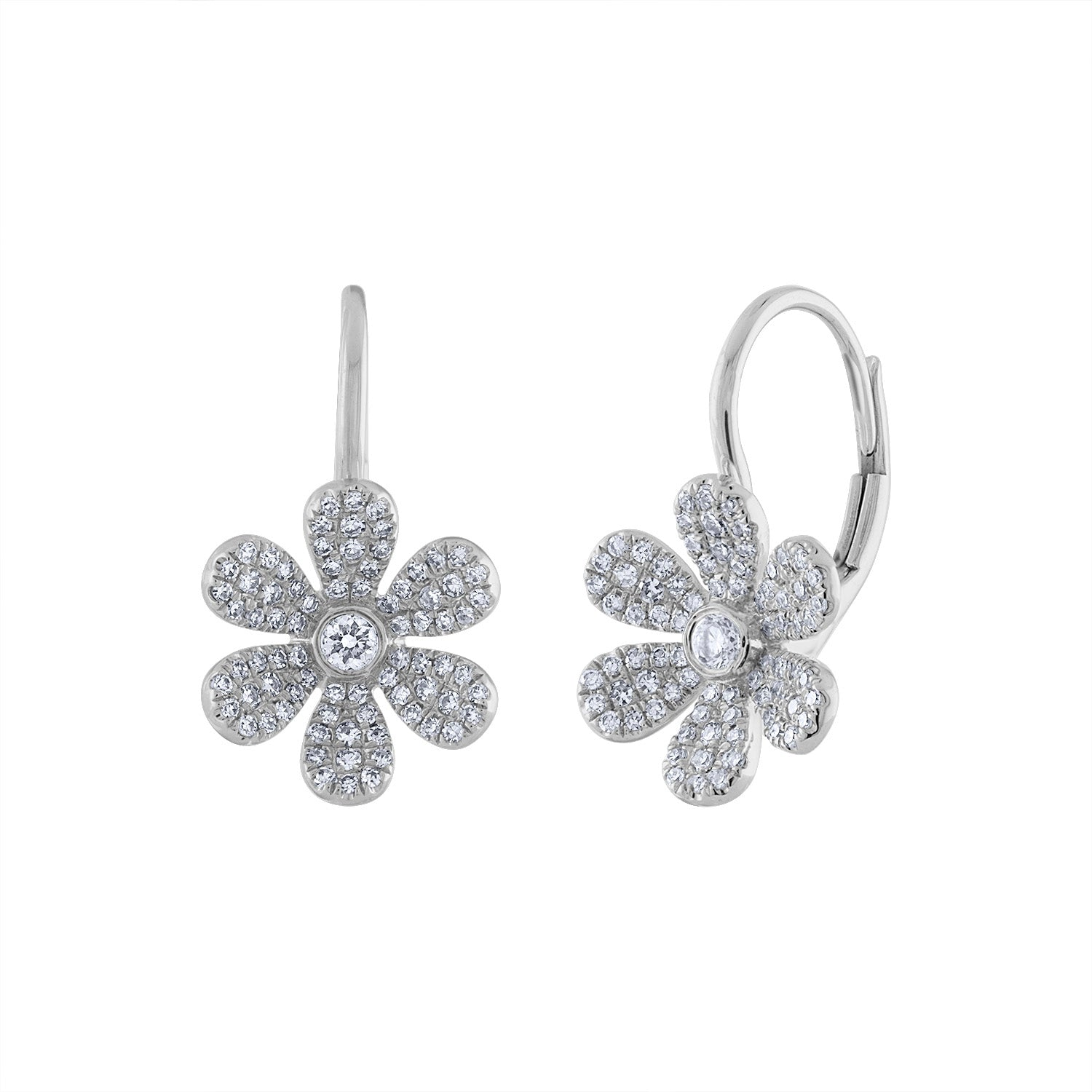 14K White Gold daisy diamond earring