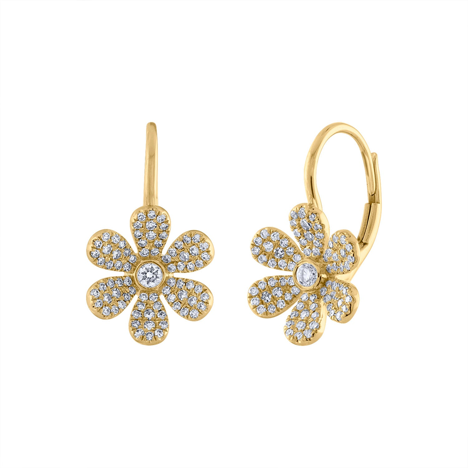 14K Yellow Gold daisy diamond earring