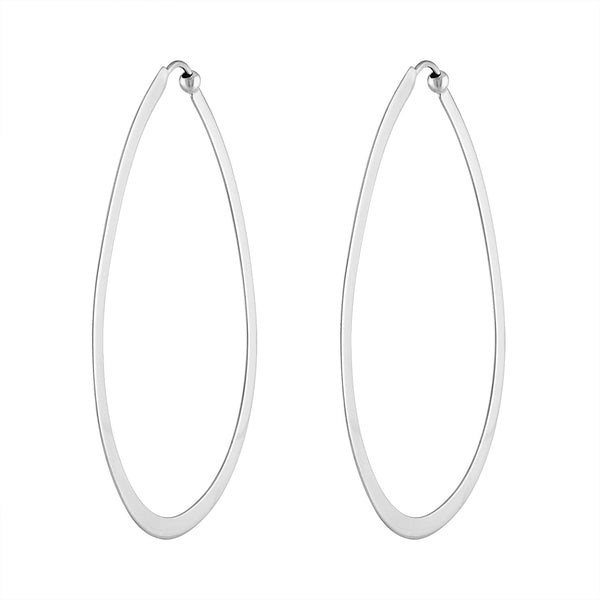 14KT GOLD LARGE OVAL SHINY HOOP EARRING