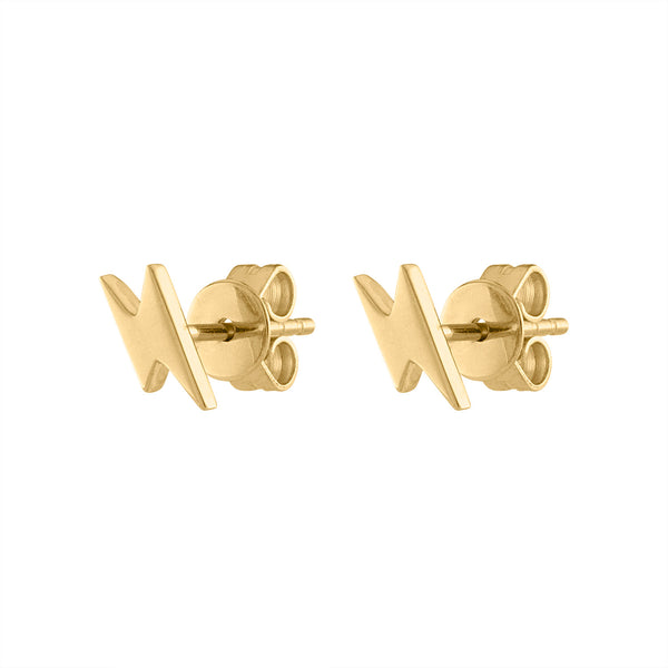 14KT GOLD PLAIN LIGHTENING BOLT EARRING